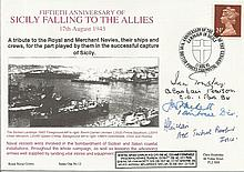 Gen Sir J Hackett DSO MC plus 3 VIPS signed Navy cover 50th ann Sicily Fall