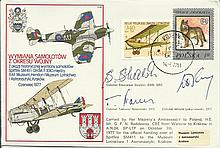 Rare Polish Battle of Britain pilots signed RAF cover! C48 Spitfire Exchang