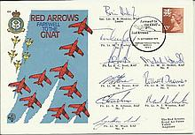 Red Arrows Farewell to the Gnat 1979 cover. Flown and signed by all nine Re