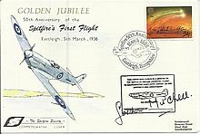 Dr Gordon Mitchell signed 50th anniv of the Spitfires first flight cover. G