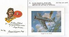 Captain Kenneth A. Walsh 21 kills Fine art card signed by United States Mar