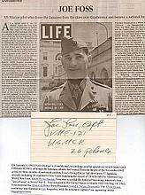 Signature of Medal of Honor winner Major Joe Foss2nd highest scoring Unite