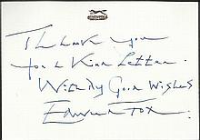 Edward Fox handwritten note on small compliment