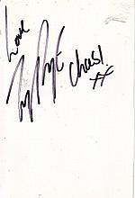 Lucy Pargeter signed card. She stars as Chastity