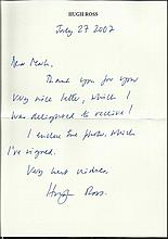 Hugh Ross handwritten note replying to request for