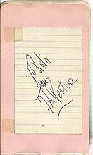 Jon Pertwee signed lined note page To Rita fixed