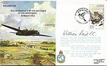 William Reid VC signed  Wellington Bomber cover Good condition. All signed