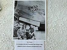 "Bombadier Tom Ferebee  Signed the 25 cm x 20 cm photograph of the ""Enola Ga"