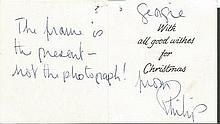 Prince Phillip signed small christmas present Gift Tag To Georgie with insc