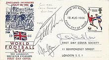 1966 first day cover with Harrow and Wembley postmark signed by Alan Ball,