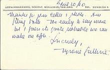 Tyrone Guthrie hand written note on personal