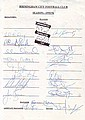 Birmingham Football 1995/6teamsheet signed by 14 squad members plus Manager, Assist & Physio. Has a list an includes Otto, Edwards, Daish, Ward, Cooper, Hunt, Bowen