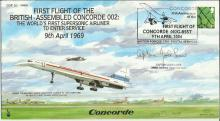 Jock Lowe signed first flight of the British assembled Concorde 002 FDC. Go