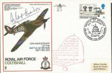 RAF Colishall Hurricane flown cover SC 29c signed by Gp. Cpt. D. BADER no.8