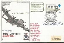 RAF Scampton Dambuster Avro Lancaster cover SC 36c signed by SIR BARNES WAL