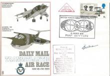 Sqn Ldr Williams RARE Harrier Flown 1969 Daily Mail Air Race cover landed o