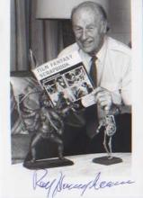 Ray Harryhausen. 7X5 picture with one of his models. Good condition. All si
