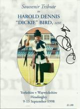 Dickie Bird signed souvenir tribute brochure for the match Yorkshire v War