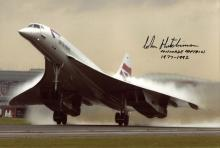 Concorde: 8x12 inch photo signed by former Concorde pilot Captain John Hut