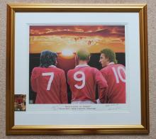 George Best Bobby Charlton and Dennis Law signed f