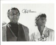 Phil Brown and Mark Hamill signed 10x8 b/w photo