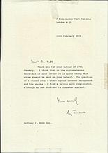 Roy Jenkins signed typed letter regarding voting in closed shop unions. Goo