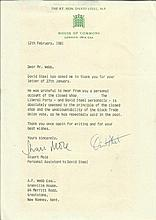 David Steel signed typed letter on House of Commons letterhead regarding th