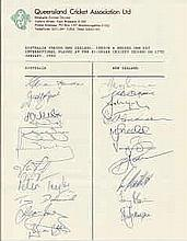 Australia v New Zealand official autograph sheet on Queensland Cricket Assoc headed paper. Signed by 11 Australians and 10 New Zealand players including Border, Boon and Waugh etc. Good condition