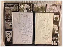 Reg Kray autograph letter signed in his particularly characteristic handwriting A4 matted for framing with various illustrations around the border showing the Kray Twins etc. Approx 51x41cm Good condition
