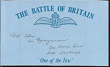 V Bergman 310 sqdn. Battle of Britain pilot. Good condition