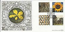 Tree & Leaf August 2000 Benham 22ct gold FDC with Glasgow postmark. Catalogues at £20+. Good condition