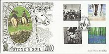 Stone & Soil July 2000 Benham 22ct gold FDC with Barnsley postmark. Catalogues at £20+. Good condition