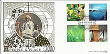People & Place June 2000 Benham 22ct gold FDC wih Greenwich London SE10 postmark. Catalogues at £20+. Good condition