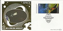 Space Millennium Booklet Benham 22ct gold FDC with Leicester postmark. Catalogues at £20+. Good condition