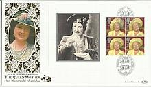 HM Queen Elizabeth The Queen Mother 100th Birthday Benham 22ct gold FDC with Hastings, E Sussex postmark. Catalogues at £20+. Good condition