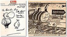 Stanley Franklin signed and illustrated The Sun Newspaper headed letter to Brenda Good condition