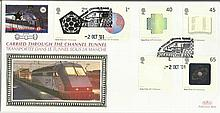 2001 Nobel Peace Prize Benham Channel official Tunnel FDC with £1 Railway letter stamp & Historic Channel Tunnel postmark. Carried through the tunnel with special cachet. Good condition
