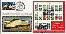 2001 Buses Miniature Sheet Benham Channel official Tunnel FDC with £1 Railway letter stamp & Historic Channel Tunnel postmark. Carried through the tunnel with special cachet. Good condition