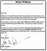 Fan mail letter, signed by the late, great Robin Williams Good condition