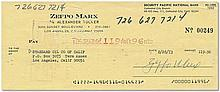 Personal cheque signed on blue pen by Zeppo Marx and dated, August 28th, 1973. Good condition
