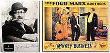 B/W signed photo of Groucho Marx with Monkey Business advertising card Good condition