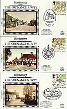 Benham Small Silk FDCs 80+ covers from 1991 Maps to 1995 Greetings all house in nice blue suede Benham album. Includes high catalogue sets 1994 Greetings, Channel Tunnel, D-Day, 1995 Greetings. Excellent condition.
