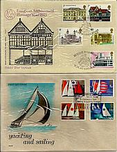 GB FDCs, shoe box of over 100 tidy FDCs from 1960s 1980s many with better postmarks up to £20 and a good few £10+. Nice array of very attractive Philart covers. Good condition