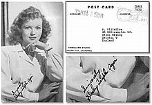 B/W photo postcard of child star, Shirley Temple, signed as Shirley Temple Agar. Temple was married to John Agar between 1945 and 1950 which would seem to suggest that the autograph was signed around this period Good condition