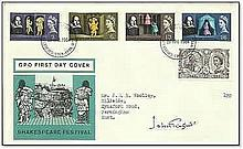 "1964 Shakespeare Festival First Day Cover with Stratford FDI postmark, signed by Sir John Gielgud. The postmark is dated ""23 Apr 1964"" April 23rd is considered to be Shakespeare's official birthday and the day he died. This cover marked the"