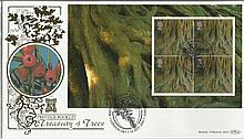 Prestige Booklet Treasury of Trees Benham 22ct gold FDC with London SW7 postmark. Catalogues at £20+. Good condition