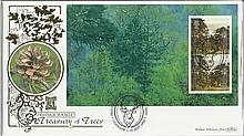 Prestige Booklet Treasury of Trees Benham 22ct gold FDC with Glasgow postmark. Catalogues at £20+. Good condition