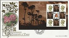 Prestige Booklet Treasury of Trees Benham 22ct gold FDC with Cardiff postmark. Catalogues at £20+. Good condition