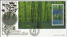 Prestige Booklet Treasury of Trees Benham 22ct gold FDC with Birmingham postmark. Catalogues at £20+. Good condition