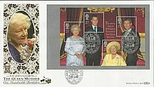 HM Queen Elizabeth the Queen Mother 100th Birthday Benham 22ct gold FDC with Rye E Sussex postmark. Catalogues at £20+. Good condition